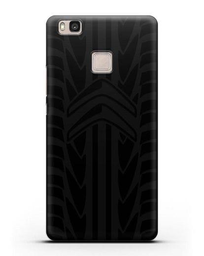 Чехол c эмблемой Citroen с протектором шин силикон черный для Huawei P9 Lite