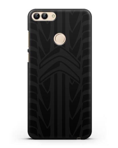 Чехол c эмблемой Citroen с протектором шин силикон черный для Huawei P Smart