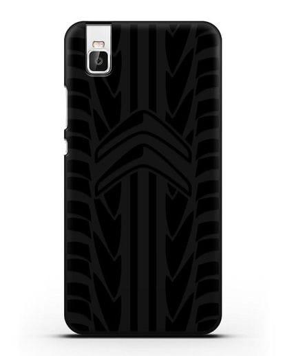 Чехол c эмблемой Citroen с протектором шин силикон черный для Huawei Shot X