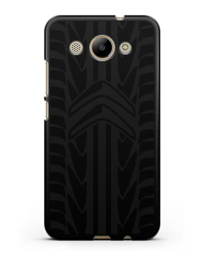 Чехол c эмблемой Citroen с протектором шин силикон черный для Huawei Y3 2017