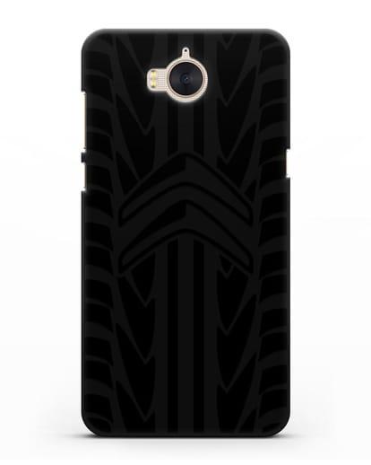 Чехол c эмблемой Citroen с протектором шин силикон черный для Huawei Y5 2017
