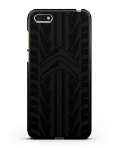 Чехол c эмблемой Citroen с протектором шин силикон черный для Huawei Y5 Prime 2018
