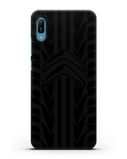 Чехол c эмблемой Citroen с протектором шин силикон черный для Huawei Y6 2019