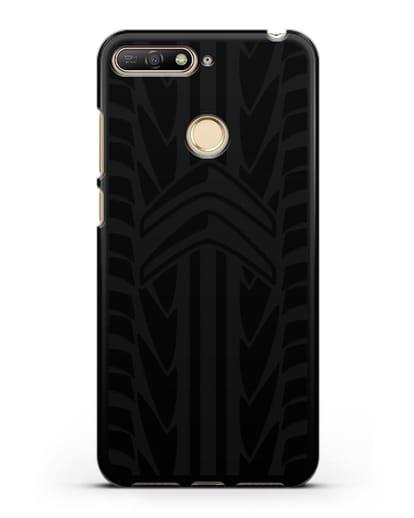 Чехол c эмблемой Citroen с протектором шин силикон черный для Huawei Y6 Prime 2018