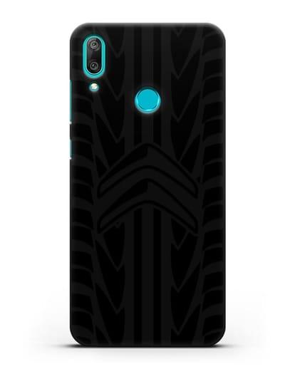 Чехол c эмблемой Citroen с протектором шин силикон черный для Huawei Y7 2019