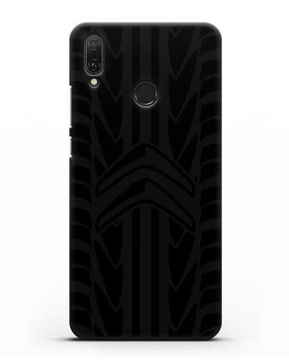 Чехол c эмблемой Citroen с протектором шин силикон черный для Huawei Y9 2019