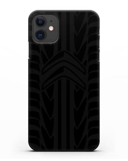 Чехол c эмблемой Citroen с протектором шин силикон черный для iPhone 11