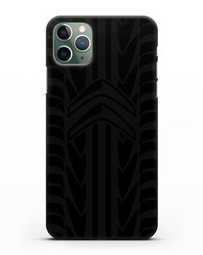 Чехол c эмблемой Citroen с протектором шин силикон черный для iPhone 11 Pro
