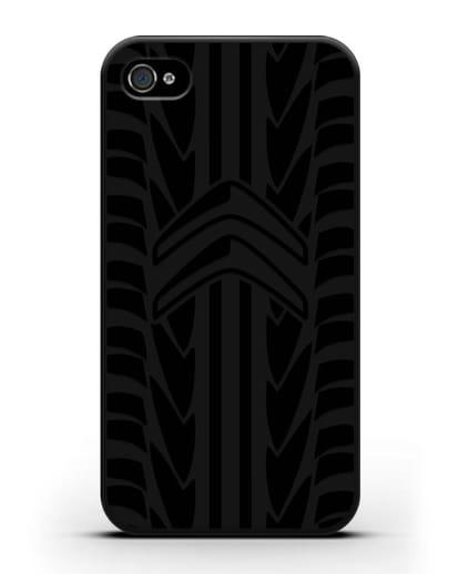 Чехол c эмблемой Citroen с протектором шин силикон черный для iPhone 4/4s