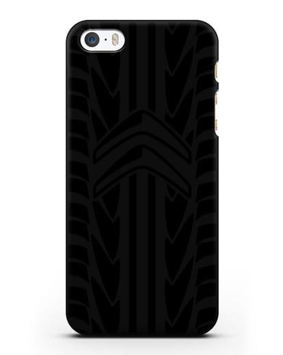 Чехол c эмблемой Citroen с протектором шин силикон черный для iPhone 5/5s/SE