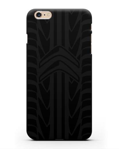 Чехол c эмблемой Citroen с протектором шин силикон черный для iPhone 6s Plus