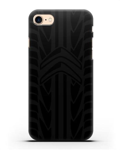 Чехол c эмблемой Citroen с протектором шин силикон черный для iPhone SE 2020