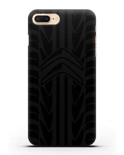 Чехол c эмблемой Citroen с протектором шин силикон черный для iPhone 8 Plus