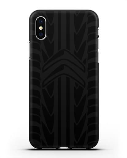 Чехол c эмблемой Citroen с протектором шин силикон черный для iPhone X