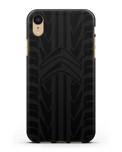 Чехол c эмблемой Citroen с протектором шин силикон черный для iPhone XR