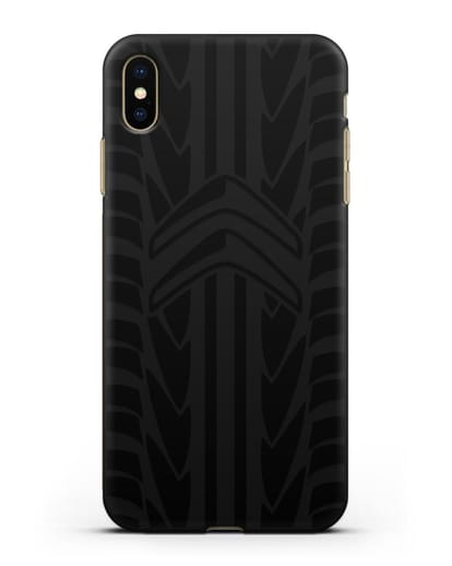 Чехол c эмблемой Citroen с протектором шин силикон черный для iPhone XS Max