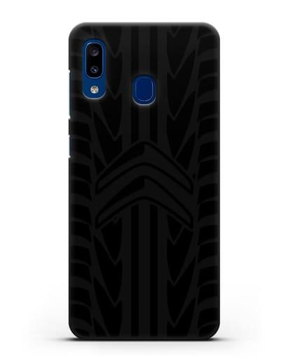 Чехол c эмблемой Citroen с протектором шин силикон черный для Samsung Galaxy A20 [SM-A205FN]