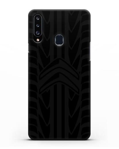 Чехол c эмблемой Citroen с протектором шин силикон черный для Samsung Galaxy A20s [SM-A207FN]