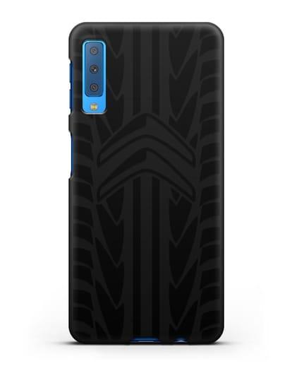 Чехол c эмблемой Citroen с протектором шин силикон черный для Samsung Galaxy A7 2018 [SM-A750F]