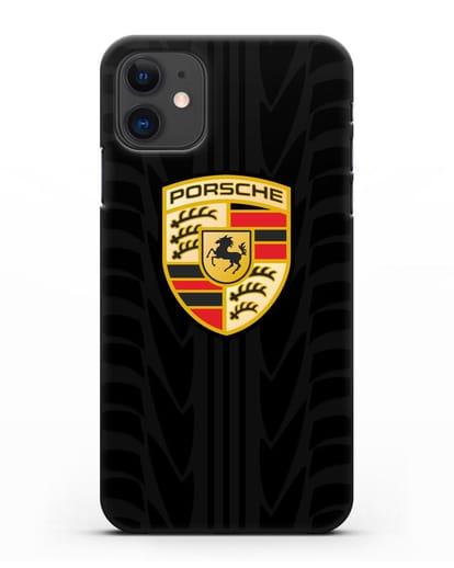 Чехол c эмблемой Porsche с протектором шин силикон черный для iPhone 11
