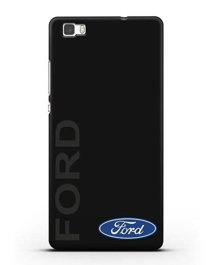 Чехол с надписью Ford и логотипом силикон черный для Huawei P8 Lite
