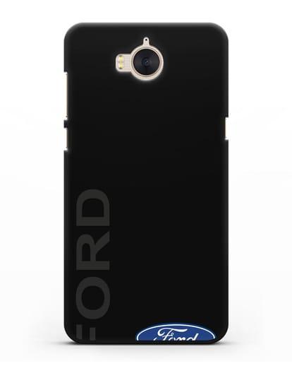 Чехол с надписью Ford и логотипом силикон черный для Huawei Y5 2017