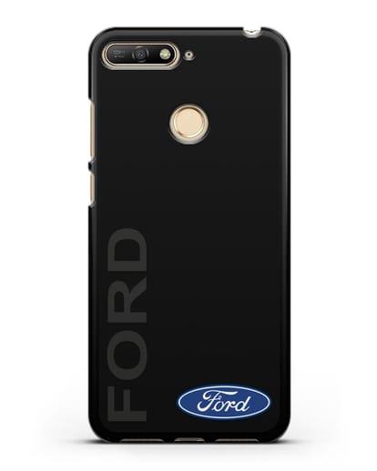 Чехол с надписью Ford и логотипом силикон черный для Huawei Y6 Prime 2018