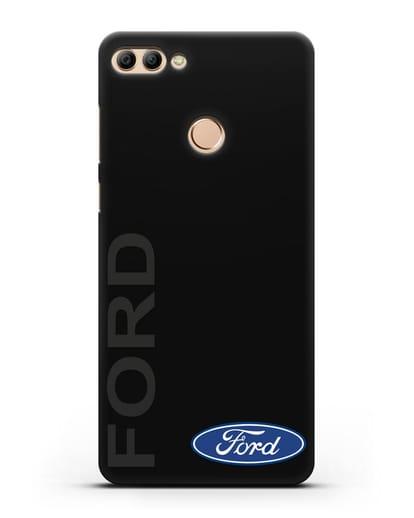 Чехол с надписью Ford и логотипом силикон черный для Huawei Y9 2018