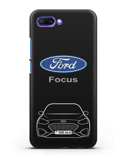 Чехол Ford Focus с автомобильным номером силикон черный для Honor 10
