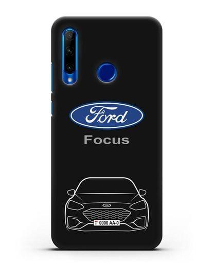 Чехол Ford Focus с автомобильным номером силикон черный для Honor 10i