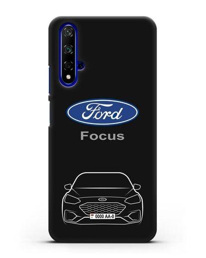 Чехол Ford Focus с автомобильным номером силикон черный для Honor 20