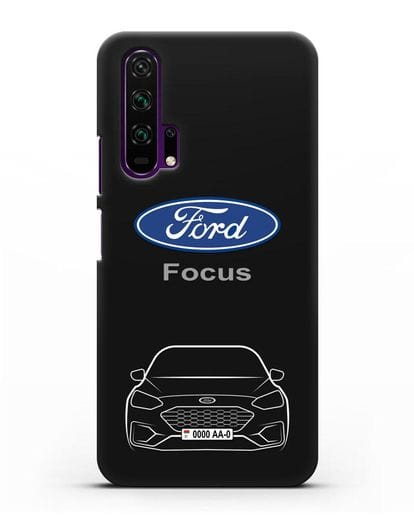 Чехол Ford Focus с автомобильным номером силикон черный для Honor 20 Pro