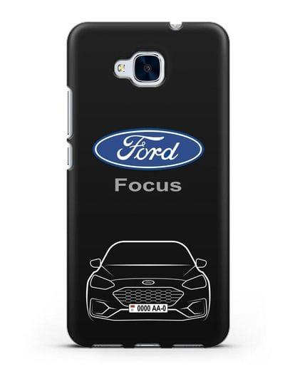 Чехол Ford Focus с автомобильным номером силикон черный для Honor 5C