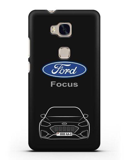 Чехол Ford Focus с автомобильным номером силикон черный для Honor 5X