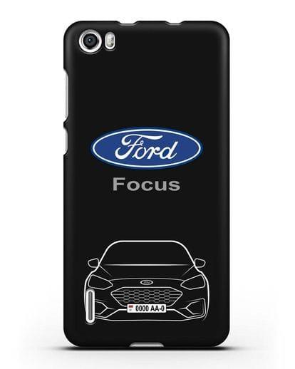 Чехол Ford Focus с автомобильным номером силикон черный для Honor 6