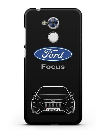 Чехол Ford Focus с автомобильным номером силикон черный для Honor 6A