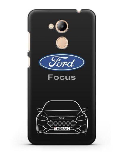 Чехол Ford Focus с автомобильным номером силикон черный для Honor 6C Pro