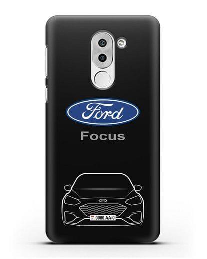 Чехол Ford Focus с автомобильным номером силикон черный для Honor 6X