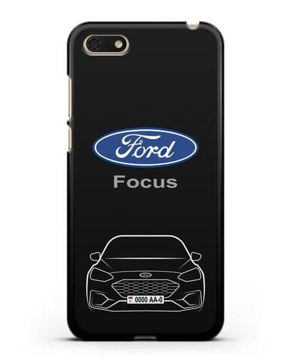 Чехол Ford Focus с автомобильным номером силикон черный для Honor 7А