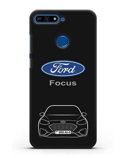 Чехол Ford Focus с автомобильным номером силикон черный для Honor 7А Pro