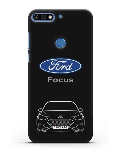 Чехол Ford Focus с автомобильным номером силикон черный для Honor 7C Pro