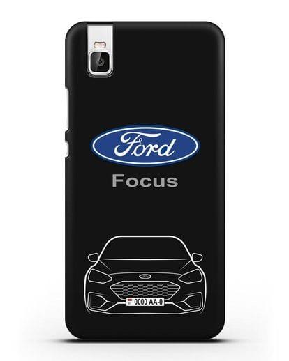 Чехол Ford Focus с автомобильным номером силикон черный для Honor 7i