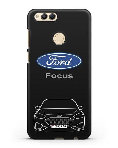 Чехол Ford Focus с автомобильным номером силикон черный для Honor 7X