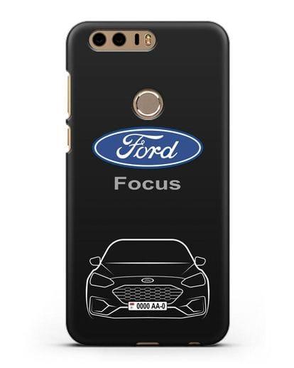Чехол Ford Focus с автомобильным номером силикон черный для Honor 8