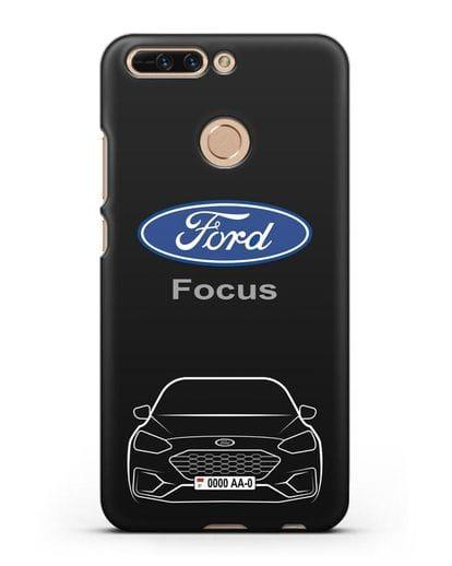 Чехол Ford Focus с автомобильным номером силикон черный для Honor 8 Pro