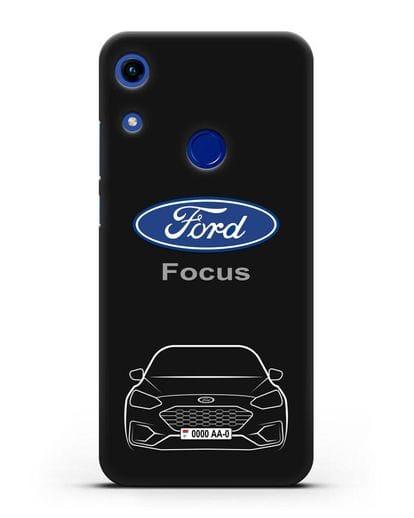 Чехол Ford Focus с автомобильным номером силикон черный для Honor 8A