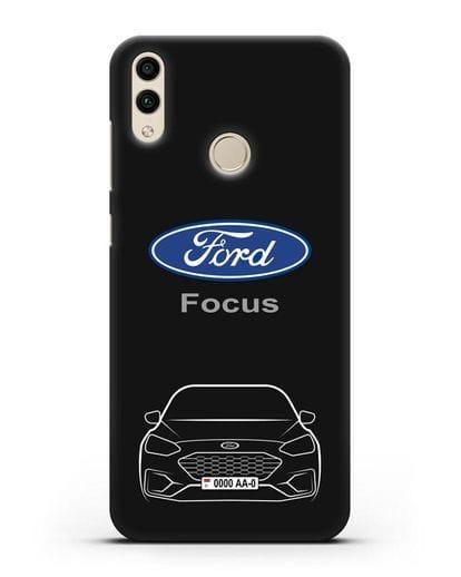 Чехол Ford Focus с автомобильным номером силикон черный для Honor 8C