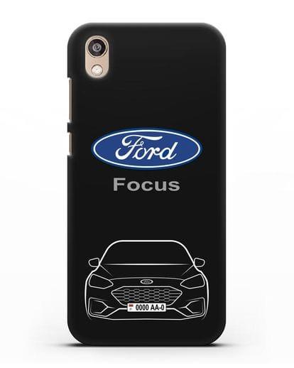 Чехол Ford Focus с автомобильным номером силикон черный для Honor 8S Prime