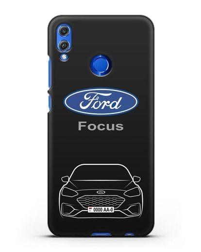 Чехол Ford Focus с автомобильным номером силикон черный для Honor 8X