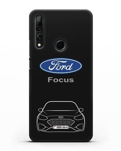 Чехол Ford Focus с автомобильным номером силикон черный для Honor 9X